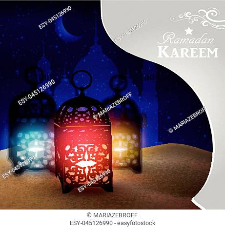 lantern stands in the desert at night sky with moon Mosque silhouettes in paper cut out window vector