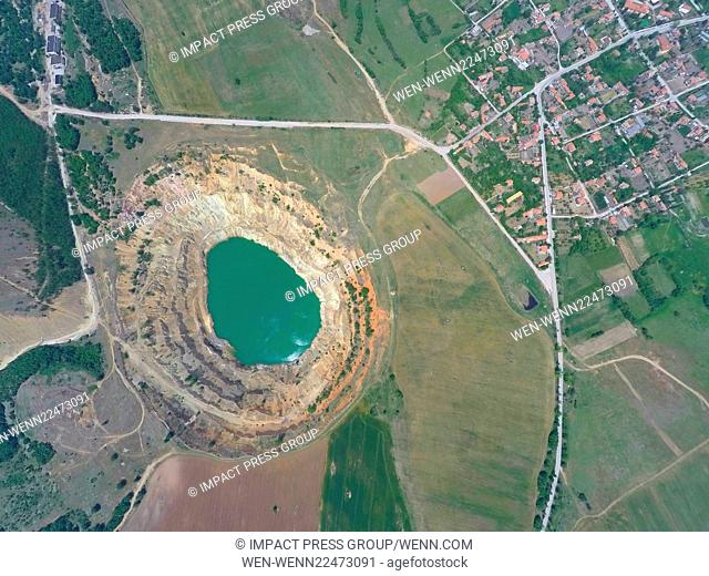 A aeirial view taken using a drone, approximately 300m above sea level, shows an abandoned copper mine located near the village of Tsar Asen (King Asen) some...