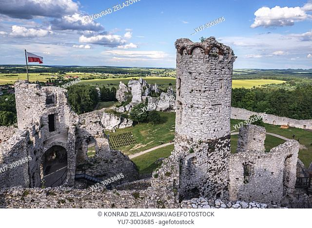 View from tower of Ogrodzieniec Castle in Podzamcze village, part of the Eagles Nests castle system in Silesian Voivodeship of southern Poland