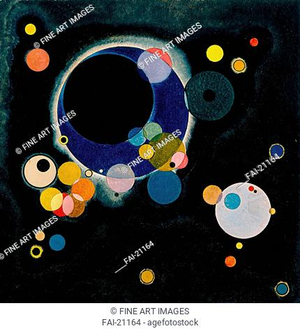 Several Circles. Kandinsky, Wassily Vasilyevich (1866-1944). Oil on paper. Abstract expressionism. 1926. Russia. New Orleans Museum of Art. 71x71