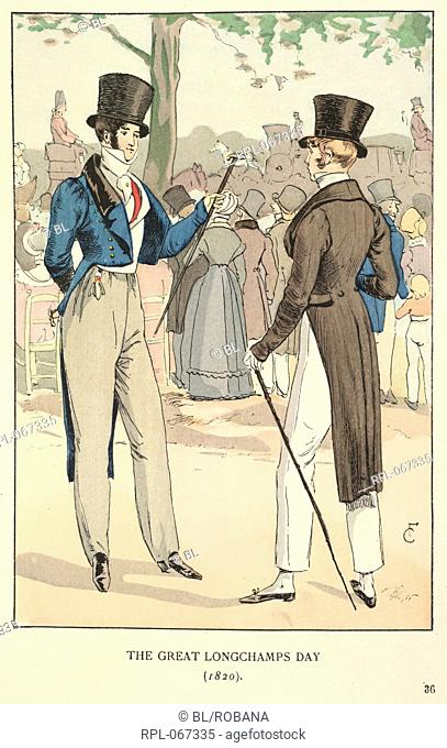 The Great Longchamps day 1820. Two gentlemen wearing top hats and long jackets, one, blue and one, brown. Image taken from Fashion in Paris: the various phases...