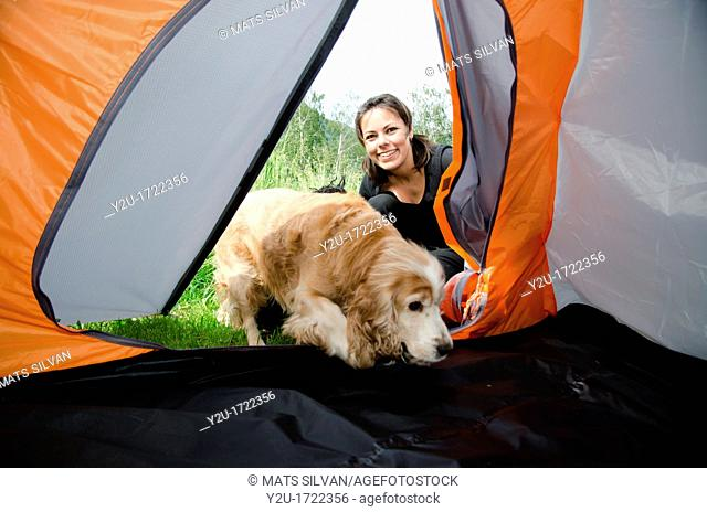 Woman watching inside a tent with her cocker spaniel dog