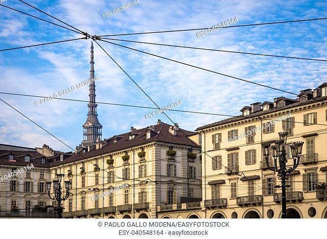 View of the Mole Antonelliana, the main landmark of Turin, from Piazza Vittorio Veneto (Vittorio Veneto Square), one of the most elegant square in the town