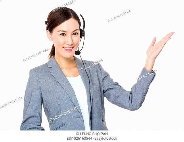 Customer services executive with open hand palm