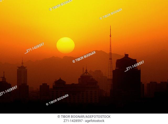 China, Beijing, skyline, sunset