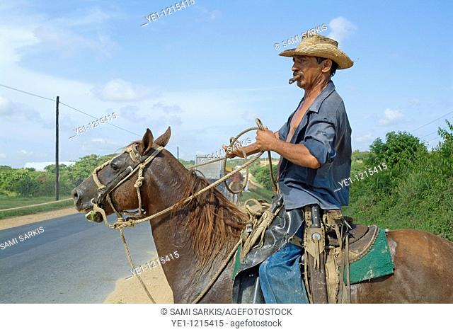 Cowboy smoking a cigar while riding his horse on a rural road in Cuba