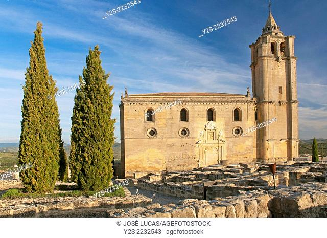 Mayor Abbey Church and medieval urban layout, La Mota Fortress, Alcala la Real, Jaen-province, Region of Andalusia, Spain, Europe