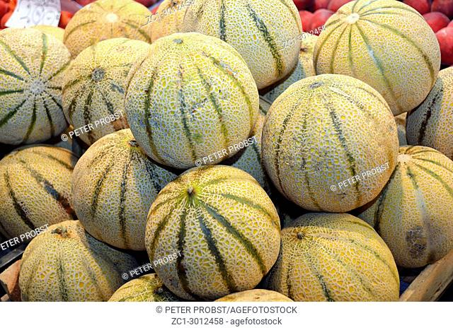Melons in the market hall of Budapest - Hungary