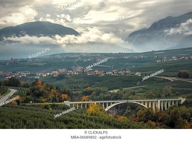 Italy, Trentino South Tyrol, autumn view of Non valley and S. Giustina bridge