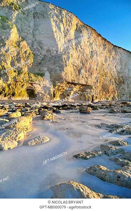 ICE AT THE FOOT OF THE CLIFFS OF AULT IN WINTER, BAY OF SOMME, SOMME 80, FRANCE