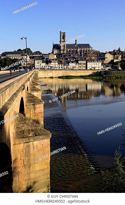 France, Nievre, Nevers, bridge over Loire River, St Cyr Ste Julitte Cathedral in the background