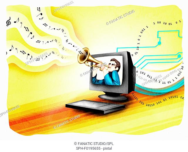 Man playing a trumpet in a computer, illustration