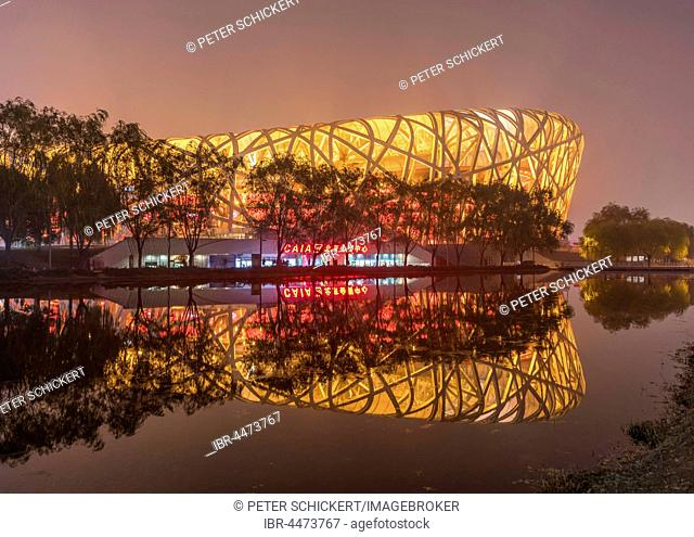 Illuminated National Stadium in the Olympic Park, dusk, Beijing, China