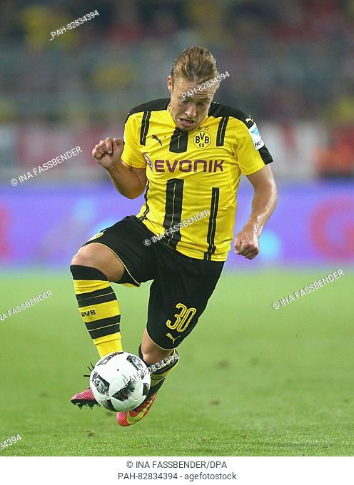 Dortmund's Felix Passlack in action during the DFL Supercup soccer match between Borussia Dortmund and Bayern Munich at Signal Iduna Park in Dortmund, Germany