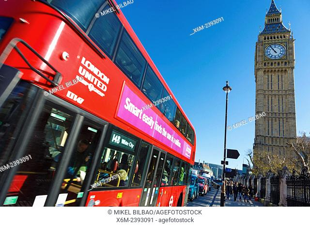 Big Ben and typical red bus. London, England, United kingdom, Europe