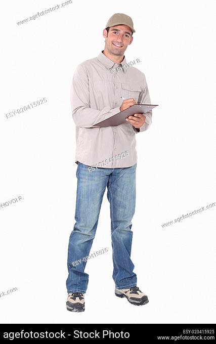 Delivery man with a clipboard