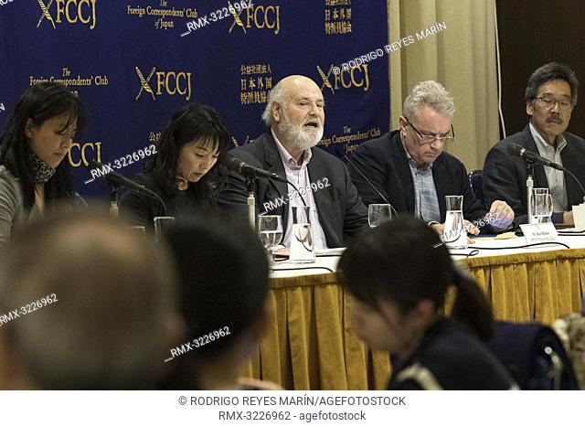 February 01, 2019, Tokyo, Japan - American actor, director and producer Rob Reiner (C) speaks during a news conference for his film Shock and Awe at The Foreign...