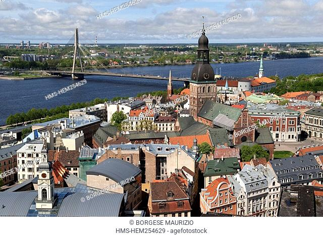 Latvia Baltic States, Riga, historical centre listed as World Hertage by UNESCO, the cathedral and Daugava River seen from the bell tower of Saint Peter Church