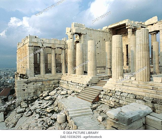 View of Propylaea or entrance gateway to the Acropolis of Athens (Unesco World Heritage List, 1987), Greece. Greek civilisation, 5th century BC