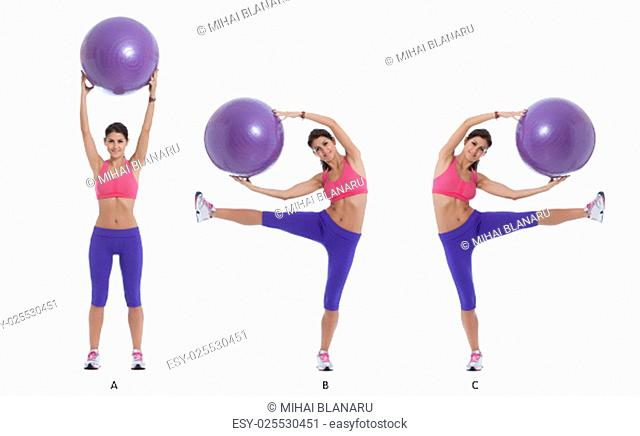 Step by step instructions for lateral abs holding a swiss ball. Bend left and right while holding a swiss ball