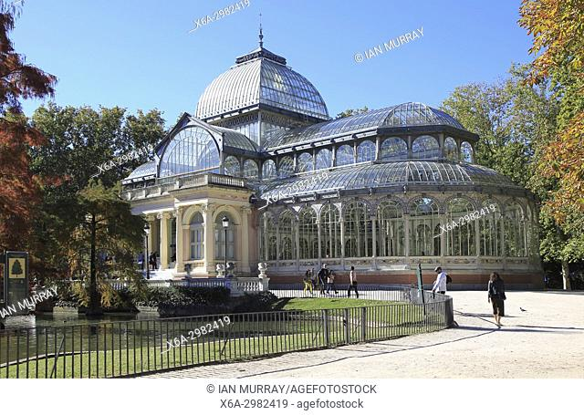 Palacio de Cristal, Crystal Palace built 1887 in El Retiro park, Madrid, Spain