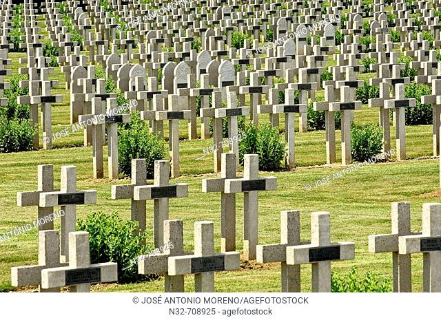 First World War Cemetery  at Soissons. Picardie. Aisne. Somme valley. France