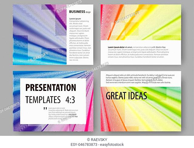 Set of business templates for presentation slides. Easy editable layouts, vector illustration. Colorful background with abstract waves, lines