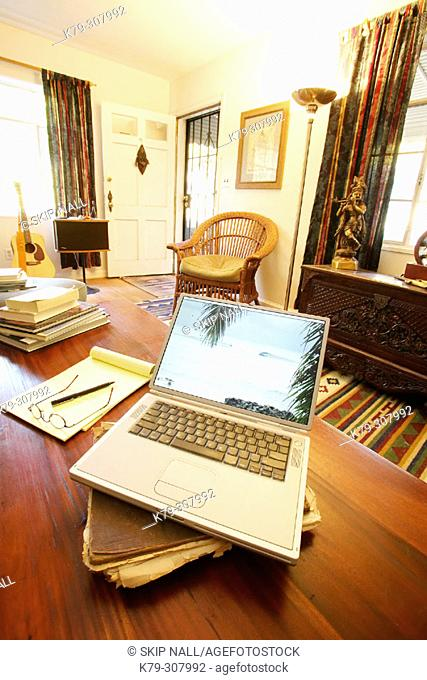 Laptop with tropical image on screen sitting in liviing room