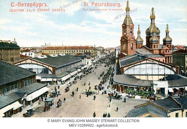 Aerial view of the Haymarket (Hay Square, or Sennaya Ploschad), St Petersburg, Russia, looking up Sadovaya Street towards Nevski Prospekt