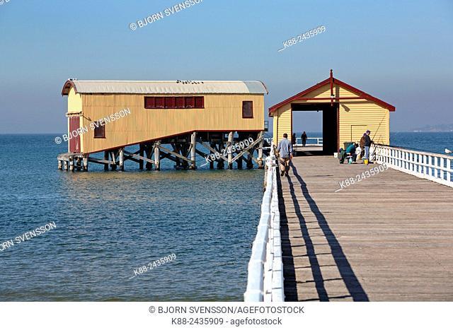 Queenscliff Pier and Lifeboat Shed. Bellarine Peninsula, Victoria, Australia