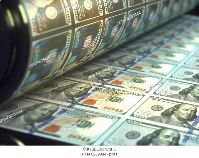 Printing banknotes, illustration