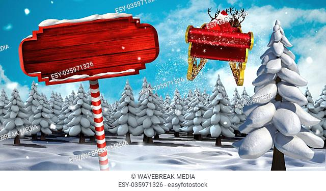 Wooden signpost in Christmas Winter landscape and Santa's sleigh and reindeer's