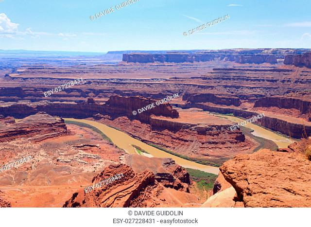 Colorado river canyon. Panorama from Utah. Red rocks. United States of America
