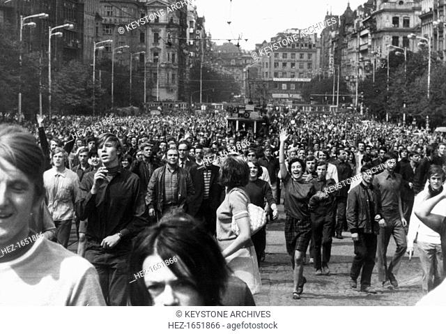 The first anniversary of the Soviet occupation of Prague, Czechoslovakia, 1969