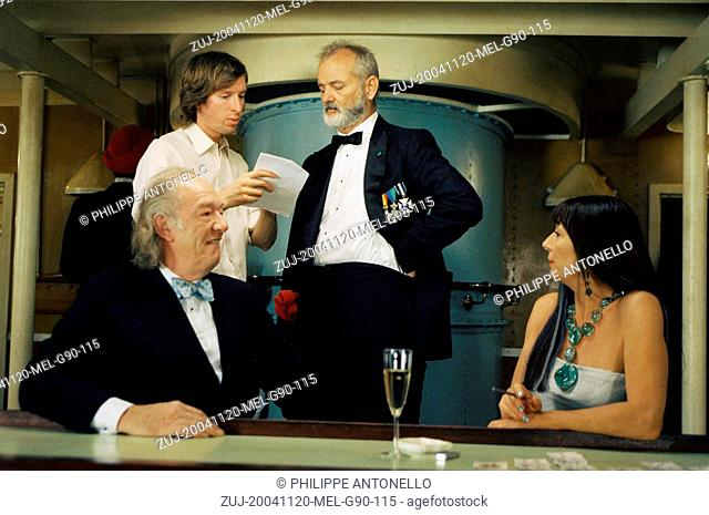 Nov 20, 2004; Rome, Lazio, ITALY; Director WES ANDERSON with actors MICHAEL GAMBON, BILL MURRAY and ANJELICA HUSTON on the set of the adventure comedy/drama...