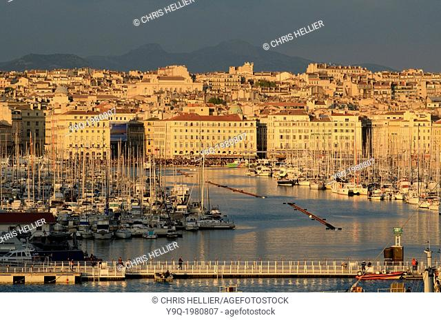 View of Old Port or Vieux Port at Dusk Marseille France
