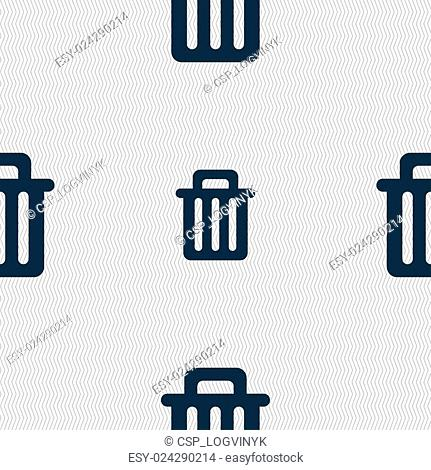 Recycle bin icon sign. Seamless pattern with geometric texture