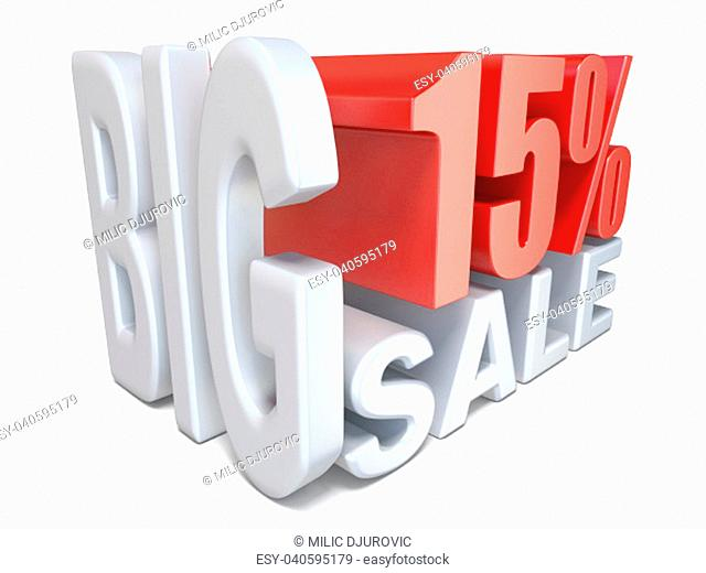 White red big sale sign PERCENT 15 3D render illustration isolated on white background