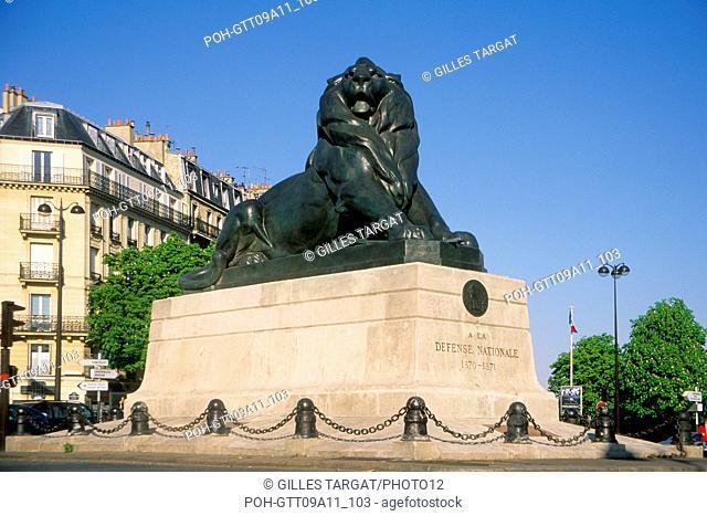 tourism, France, paris 14th arrondissement, place denfert rochereau, denfert rochereau square, lion of belfort, statue, national defense Photo Gilles Targat