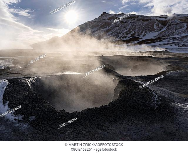 Geothermal area Hveraroend with mudpots, fumarales and solfataras near lake Myvatn and the ring road. europe, northern europe, iceland, February