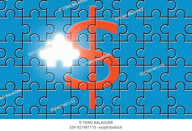 Dollar sign on a puzzle with missing piece