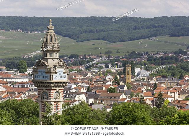 France, Marne, Epernay view of Champagne De Castellane tower, Epernay and the mountain of Reims at the background