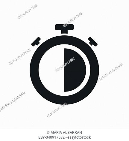 Isolated stopwatch icon half past on a white background. Vector illustration