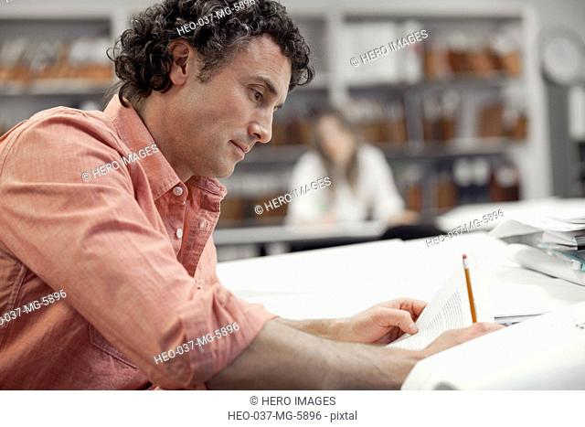 businessman reviewing plans