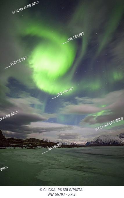 Lofoten, Norway. A strange spiral Aurora Borealis