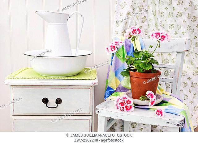 Distressed painted wooden furniture with enamel bowl and pitcher with Pelargonium in terracotta plant pot