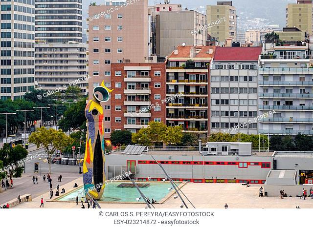 Sculpture Dona i Ocell in Barcelona, Spain. This sculpture, designed by famous Joan Miro, presides over the park that bears the name of the artist