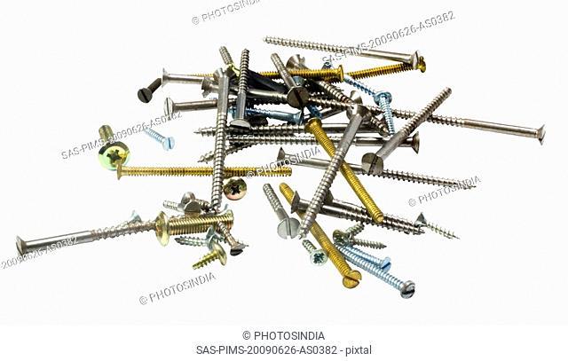 Close-up of assorted screws