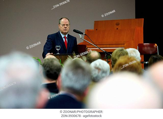 Peer Steinbrück SPD,former finance minister and candidate for the chancellery on 2013, speaks at the ceremony