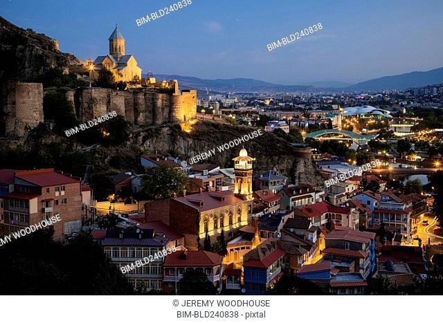 Scenic view illuminated cityscape, Tbilisi, Georgia